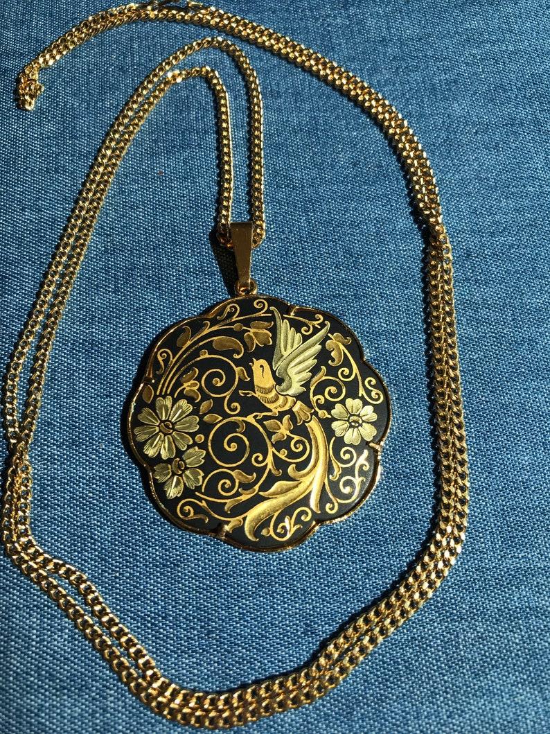 Vintage Damascene black gold tone flower floral bird large scalloped necklace pendant.