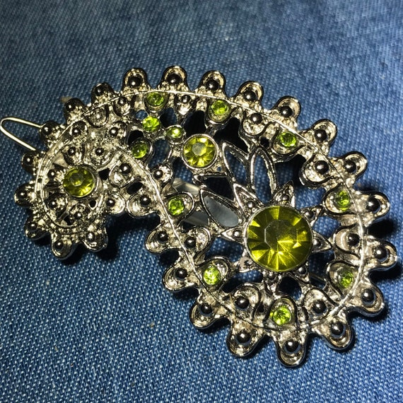 Vintage 1950s to 1970s Silver Tone Iridescent Pronged Rhinestone Bracelet Either BlueGreen or PinkPurple Snap Clasp Retro 1