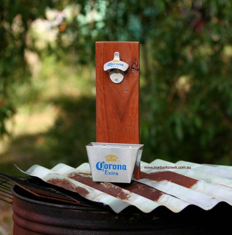 Corona Beer opener reclaimed Mahogany Timber and Chrome Corona image 0