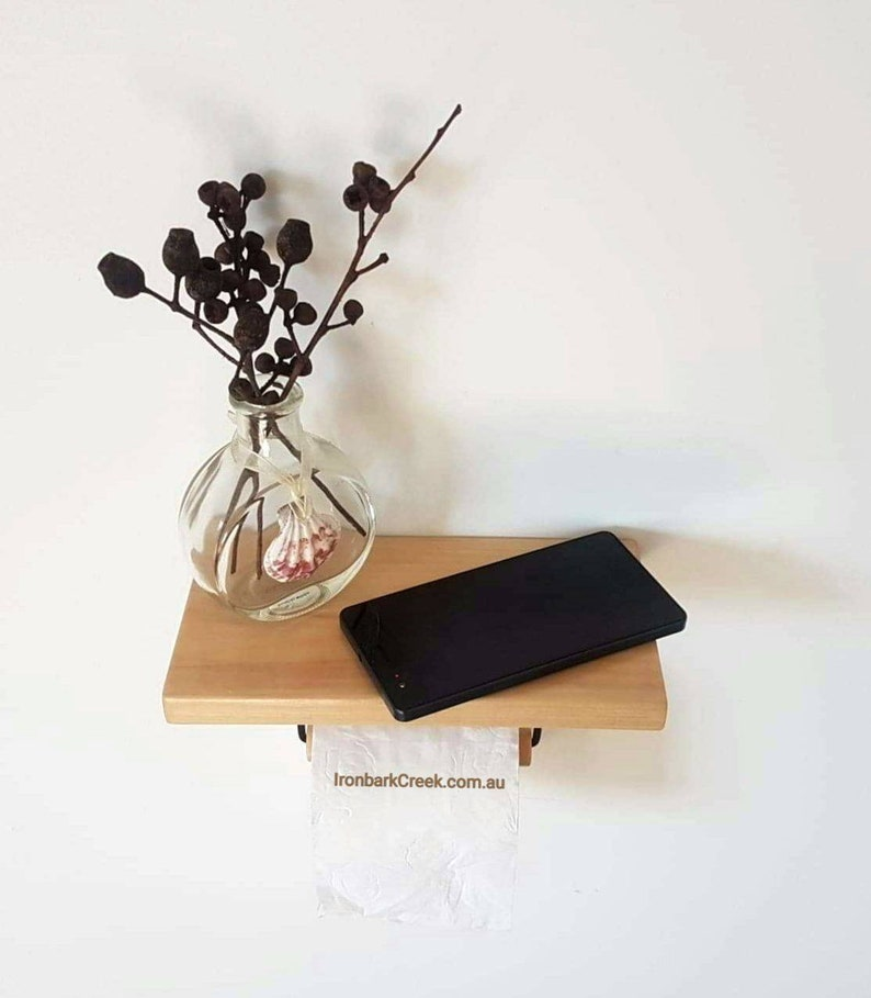 Pine Toilet Paper Holder with beautiful handcrafted Shelf. image 0