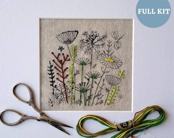 Wild Flower Irish Linen Stamped Embroidery Kit.