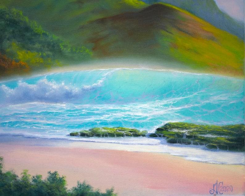 tropical landscape coastal landscape original oil painting on canvas 16x20 inches beach painting Hawaiian landscape ocean wave painting