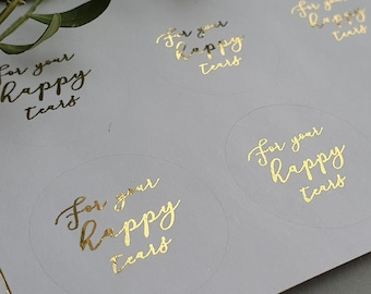 Personnalisé Brillant Mariage Heureux larmes Tissu étiquettes Or /& Blanc Stickers