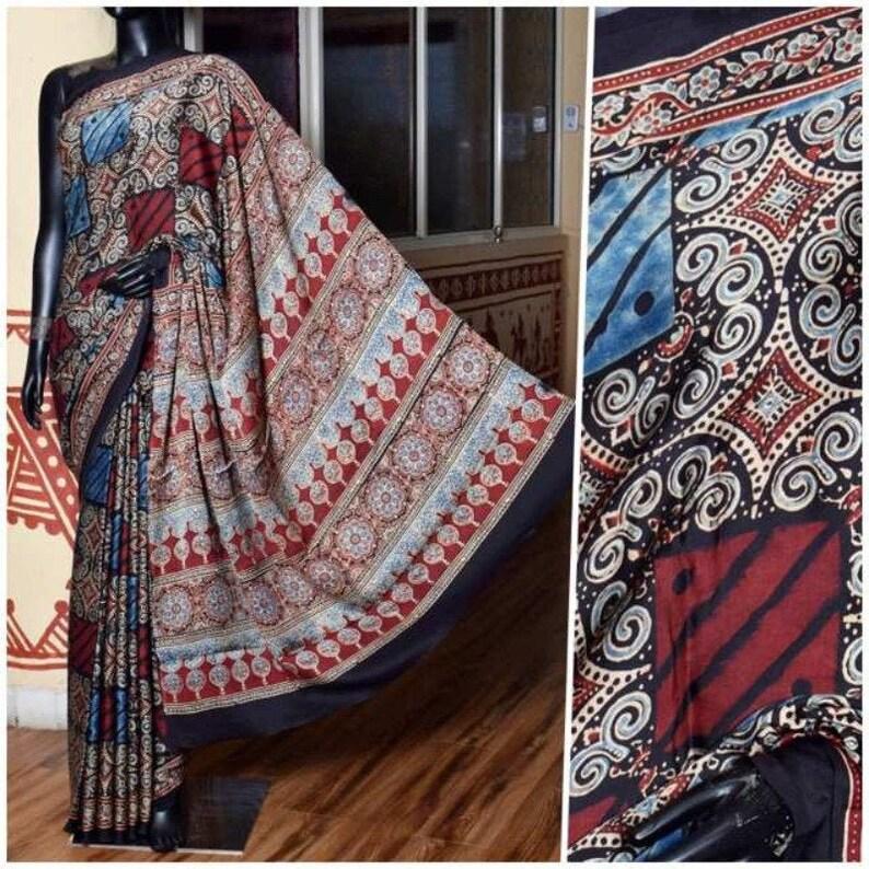 Elengant Ajrakh Print Modal Silk Saree For Her Block Print Saree Exclusive Silk Saree