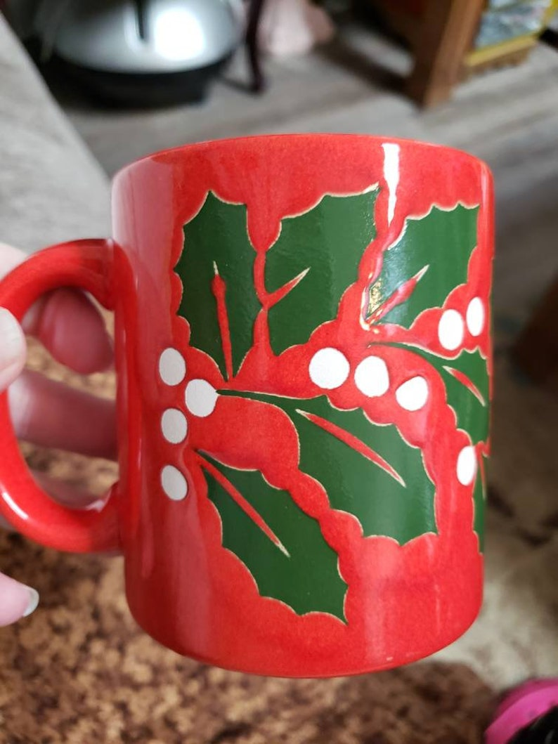 Vintage Christmas Waechtersbach Holly cup west Germany