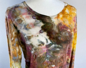 XS Open Front Waterfall Cardigan  Hand Dyed Convertible Cardigan  Boho Chic Draped Cardigan  Tie Dyed Top Layer  Classy Tie Dye