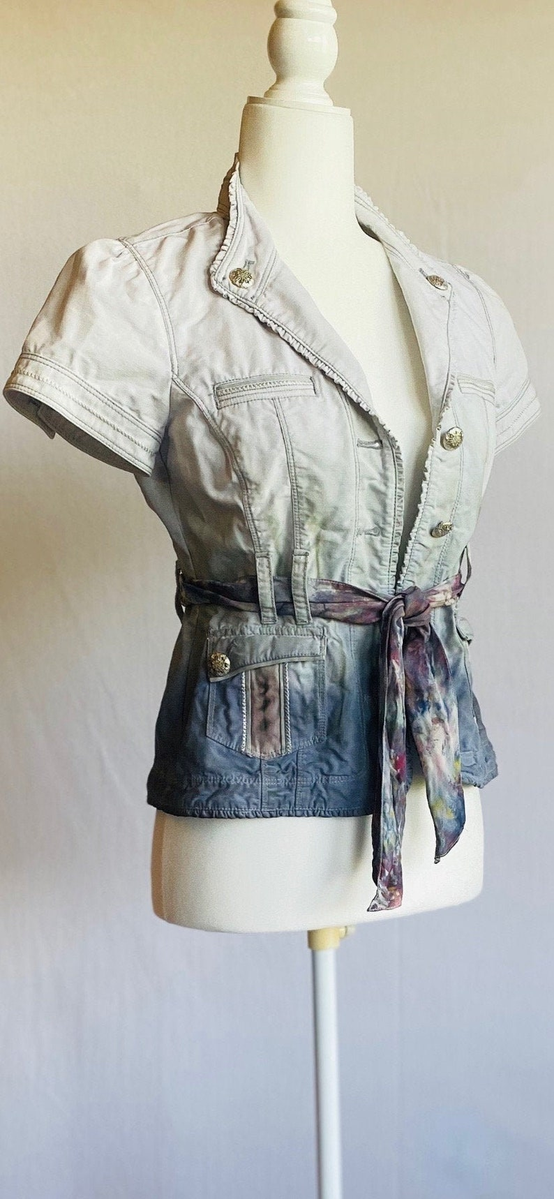 slow fashion aesthetic rare find XS Darling Dip Dyed jacket with Ice Dyed Silk sash