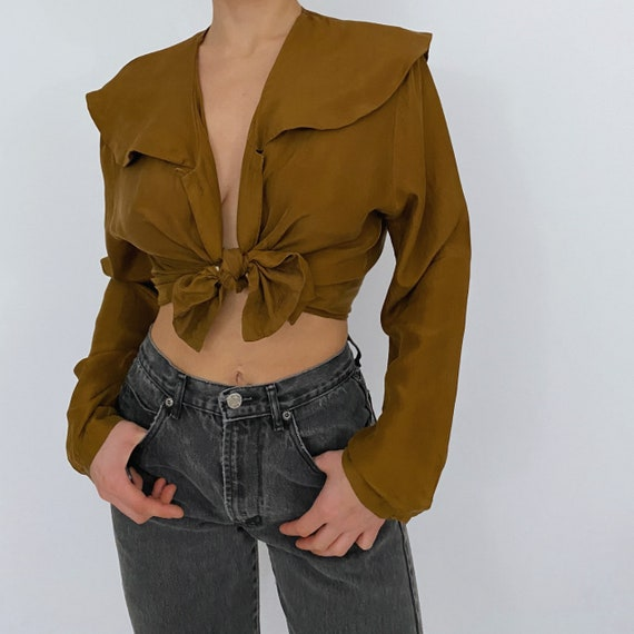 vintage express mustard yellow silk blouse