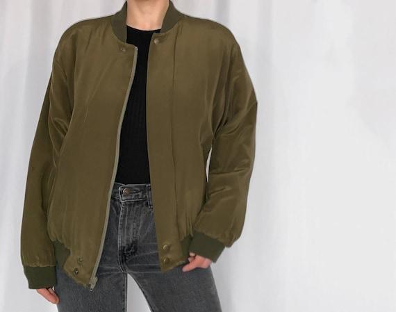 vintage dkny olive green silk bomber jacket