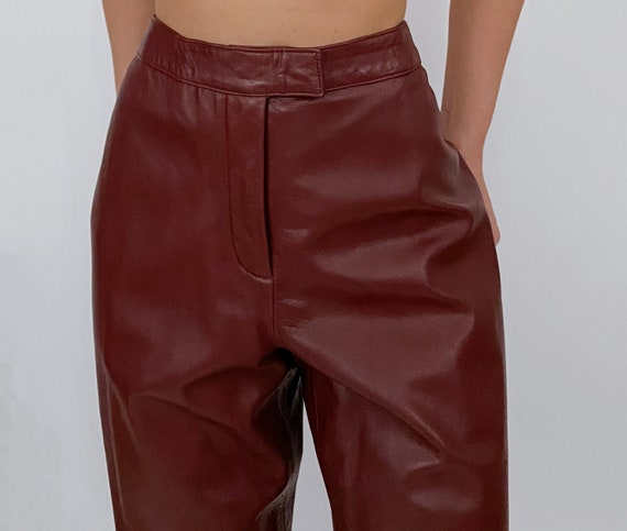 vintage oxblood red high rise leather pants