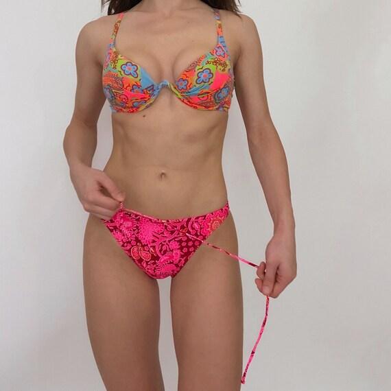 vintage neon bikini set underwire top