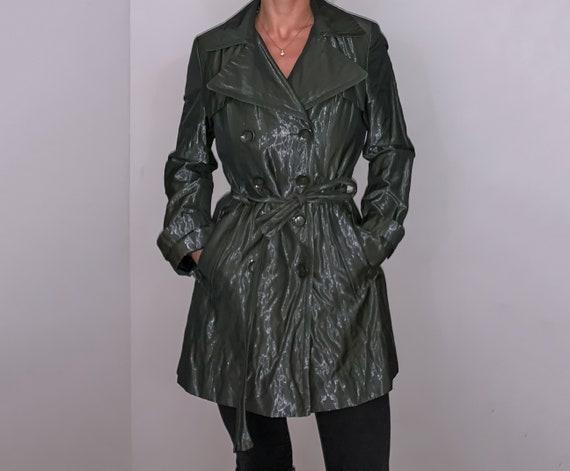 calvin klein iridescent trench coat olive green