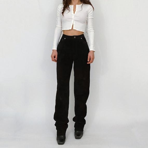 vintage high rise suede leather pants black