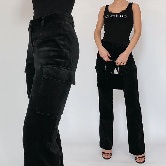 black velvet cargo pants