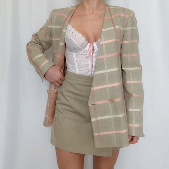 vintage windowpane blazer beige and pink salmon