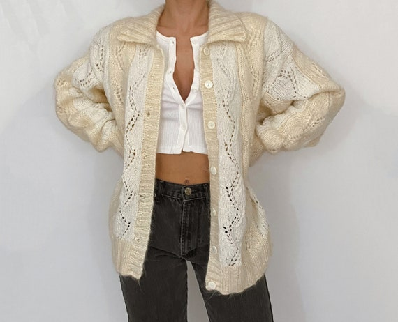 vintage hand knit mohair cardigan white / cream
