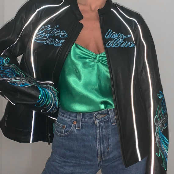 harley davidson reflective leather motorcycle jack