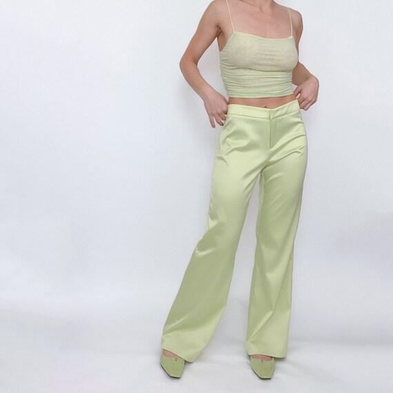 vintage cache lime green trouser pants