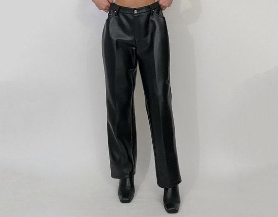 high rise faux leather pants black
