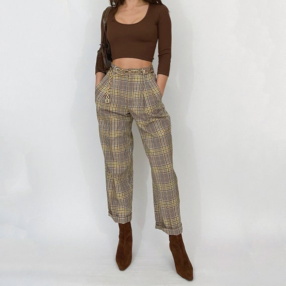 high rise plaid trousers yellow / brown
