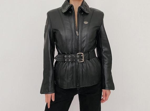 vintage belted leather motorcycle jacket black