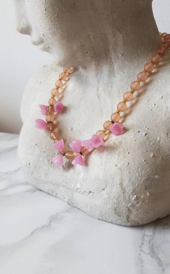 1940's Murano Glass Flower Beaded Necklace/ Vinta… - image 3