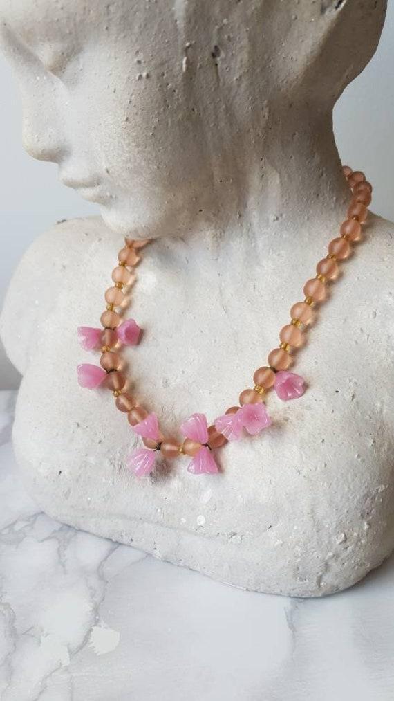 1940's Murano Glass Flower Beaded Necklace/ Vinta… - image 8