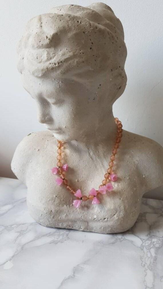 1940's Murano Glass Flower Beaded Necklace/ Vinta… - image 4