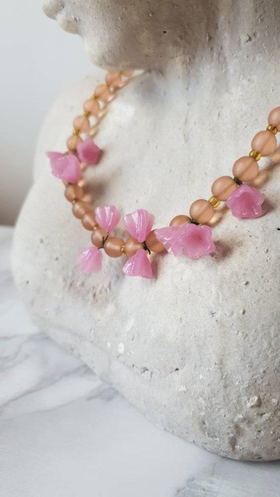 1940's Murano Glass Flower Beaded Necklace/ Vinta… - image 9
