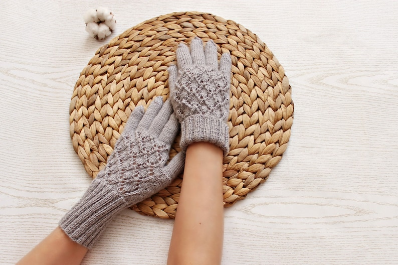 gray knit gloves for women warm hand accessories winter fashion  as  new year gift