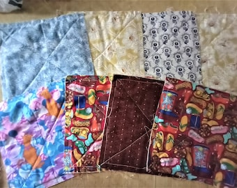 8 Pre-Quilted Cotton Fabric Squares 8.5 inch