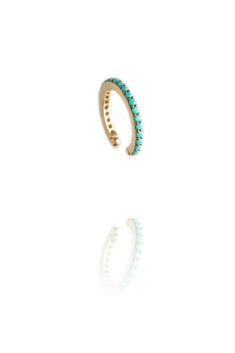 925k Fashion earrings Rose Gold Gift for her Blue Turquoise Ring Cartilage Earrings