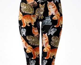 Cat Life Printed Leggings  Capri Pockets Cat Sliding Cats with Attitude  Cat Lover  Cat Pants  Cat RTS