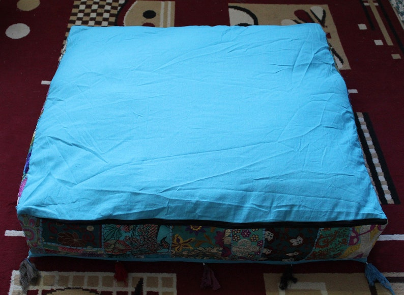 Indian Handmade Large 35Square Sky Blue Patchwork Vintage Cushion Cover Home Decorative Floor Cushion Covers Pouf Ottoman Cushion Covers
