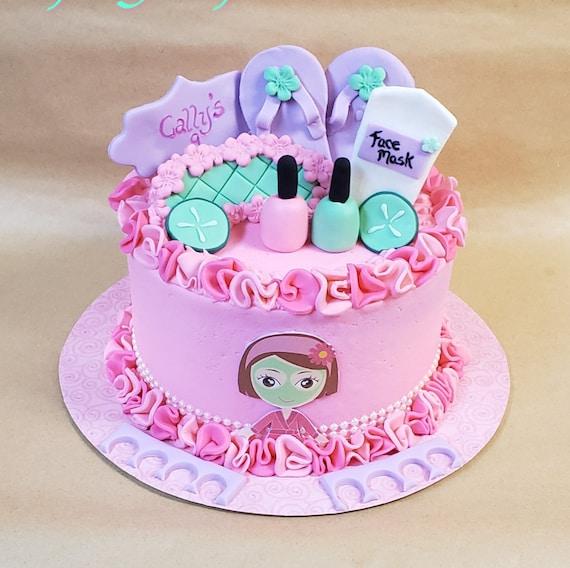 Sensational Spa Themed Little Girls Birthday Party Cake Decorating Etsy Personalised Birthday Cards Xaembasilily Jamesorg