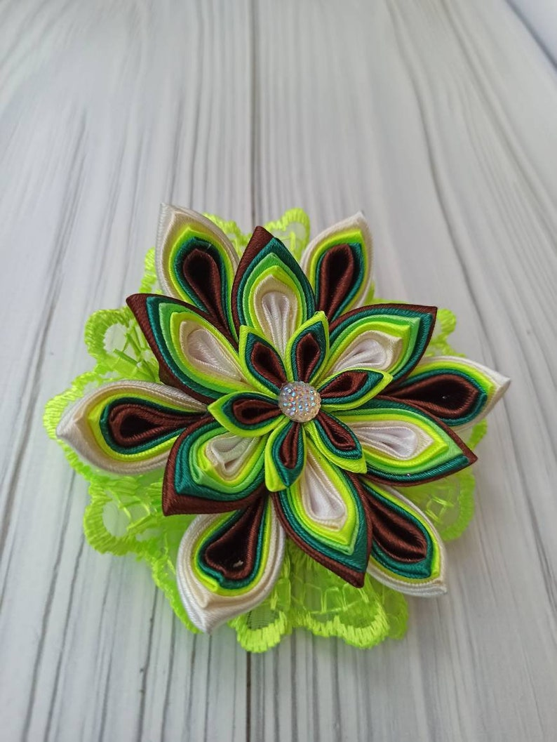 Flowers rainbow Gifts hairbows Satin ribbon hair bow Green flowers Baby hair bow Hairbows Rainbow hair. Kanzashi hair bow Hair pin
