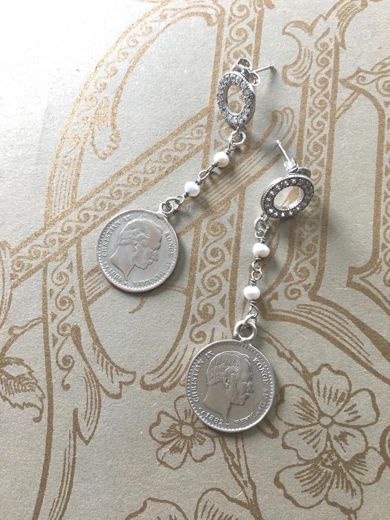 Antique Love Token 1882 /& 1884 Denmark 10 ORE Engraved Silver Coins Freshwater Pearl Earrings
