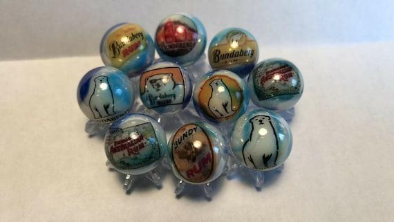 "Lot of 8 Snow White /& 7 Dwarfs Logo Advertising 1/"" Glass Marbles"