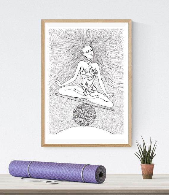 Downloading Art Yoga Girl On The Ball Meditation Balance Etsy