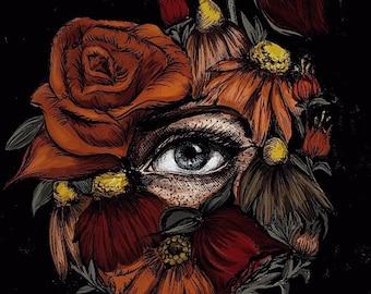 Botanical Eye Square-Cut Sticker/ grunge stickers/ art stickers/ flower stickers/ original art/ computer stickers/ gothic art/ goth sticker