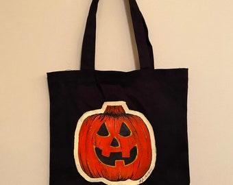 MADE TO ORDER/hand painted tote bag/Halloween/Halloween art/pumpkin/halloween decor/halloween bag/pumpkin tote bag/autumn/fall art