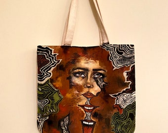Hand painted tote bag/original art/psychedelic art/psychedelic tote bag/canvas bag/painted purse/painted tote/grunge art