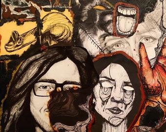Grunge stickers/dark art/grunge art/art stickers/laptop stickers/ vinyl stickers/gothic decor