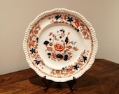 Spode. Copeland late spode bang up gadron earthenware plate. Center stunning imari style flowers butterfly 39 s 27cms by 3cms.