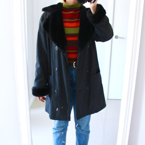1980s vintage black faux fur collar oversized coat