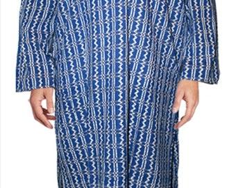 Unisex Nightshirt XXL Blue & White Zig Zag Pattern