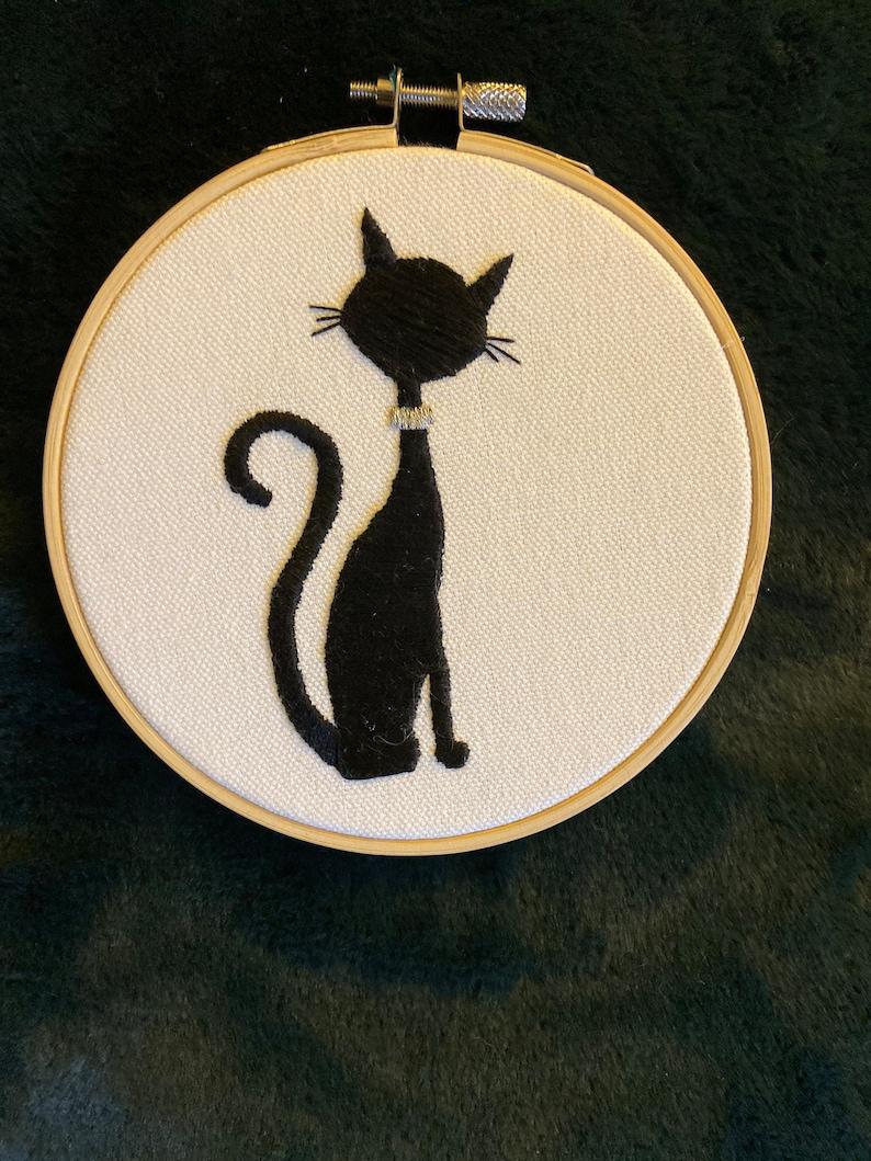 Black Cat Embroidery Art