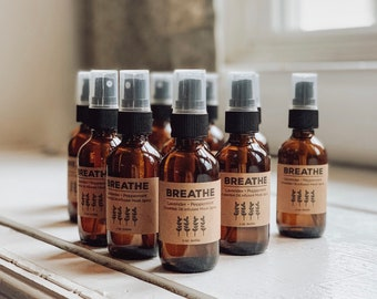 BREATHE Mask Spray, Essential Oil Infused Aromatherapy Face Mask Refresher Spray in 2oz amber glass bottle