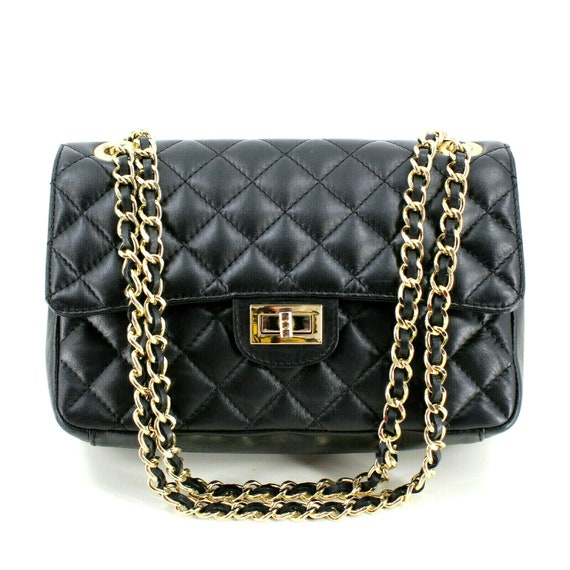 Italian Leather Black Quilted Shoulder Bag [Made i