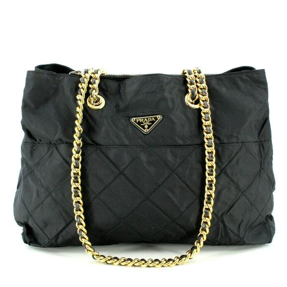 Authentic Black Prada Vintage Nylon Leather Trim Q